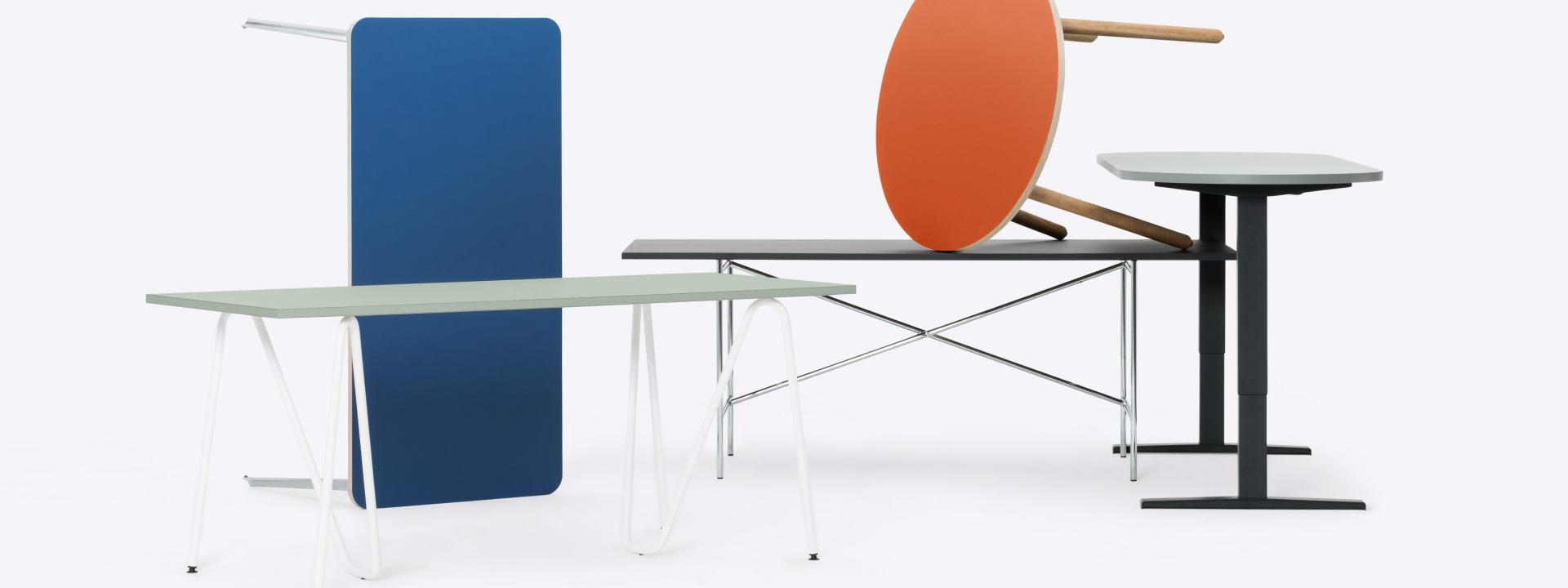Startseite, Tischplatten, Tische & Gestelle, Regalsystem, Sitzsysteme, Office, Zubehör